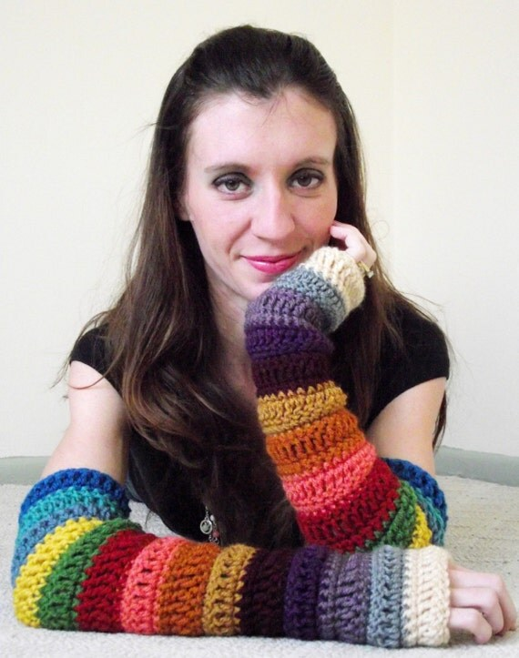 Bohemian Arm Warmers - Crochet Fingerless Gloves