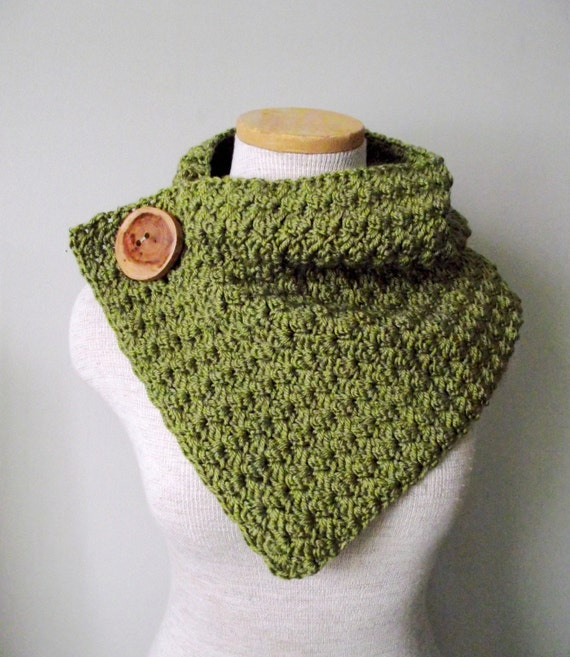 Crochet Cowl - Button Up Cowl with Chunky Wooden Tree Buttons...You Choose from 42 Colors