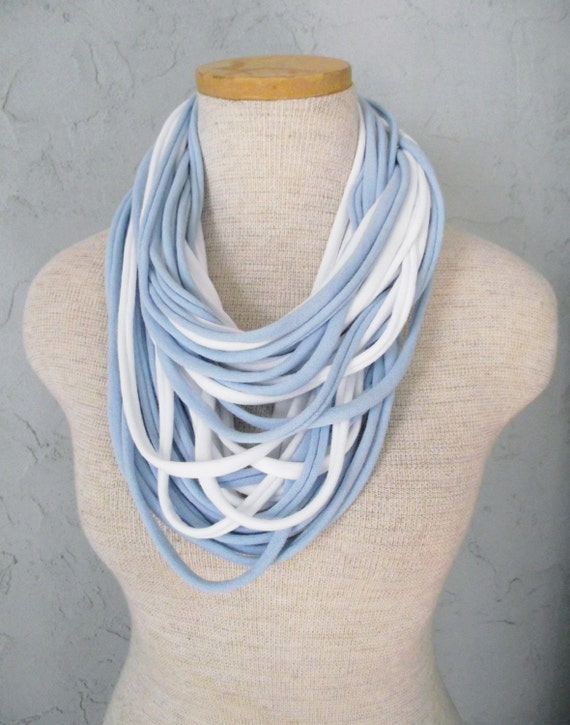 Jersey Tee Circle Scarf - White and Light Blue - Baby Blue - Sky Blue - Ocean Blue