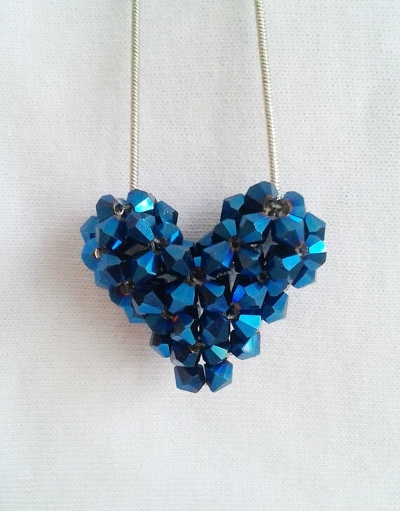 Swarovski Crystal Puffy Heart Necklace in Metallic Blue