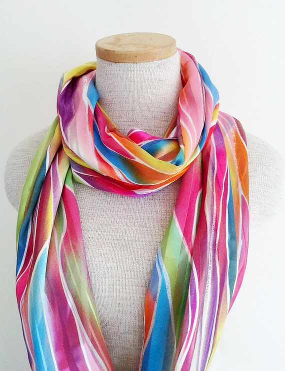 Rainbow Spectrum Loop Infinity Skinny Scarf - Spring and Summer 2012 Collection - LAST ONE