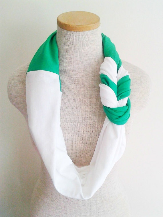 Kelly Green and White Half Braided Knot Jersey Tee Scarf