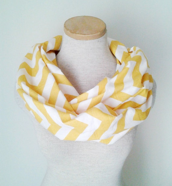 Yellow and White Chevron Infinity Skinny Scarf
