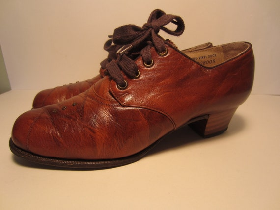 Vintage Miller Barefoot Freedom Ladies Brown Oxford size 6 A Granny Shoes NICE