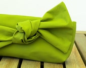 Clutch with a knot apple green FREE SHIPPING