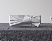 Knot Clutch in White Leatherette