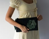 On Sale Clutch in black and green wool with a leather flower in Green