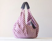 Kallia - Shoulder bag in striped purple cotton denim and purple leather