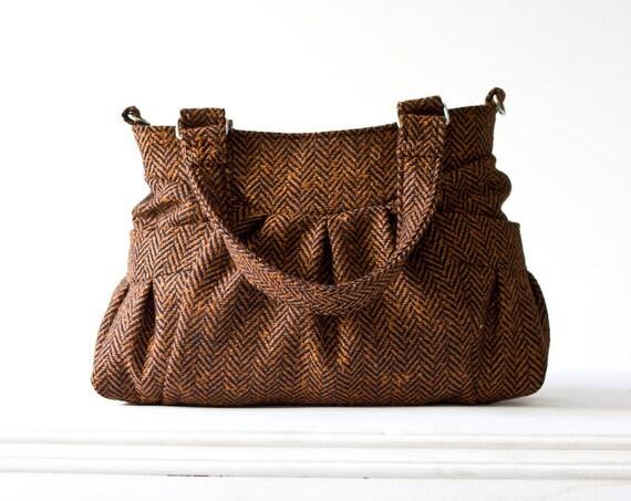 Shoulder bag , messenger bag in herringbone wool burnt orange and black - Elessa bag