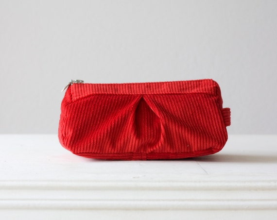 cosmetic bag  , makeup case in Red cotton corduroy