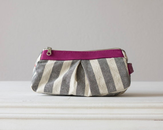 Cosmetic case with stripe cotton canvas and  Fuchsia leather