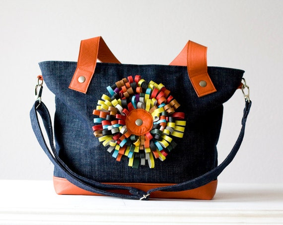Tote bag in denim with leather flower