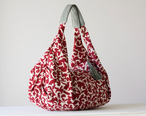 Kallia - Shoulder bag in red cotton floral pattern and grey leather