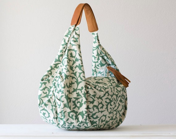 Kallia - Shoulder bag in green cotton floral pattern and light brown leather