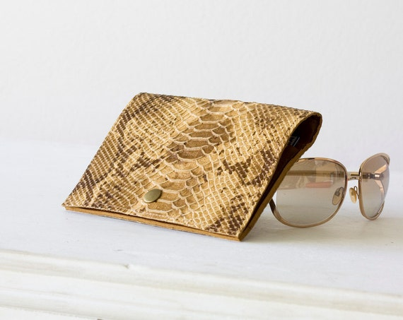 On sale , Leather women wallet in beige snakeskin look