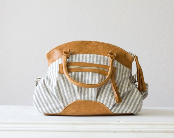 RESERVED LISTING Arethusa  in  Stripe blue canvas and light Brown leather