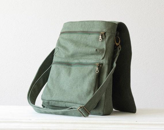 Mens Messenger bag , backpack bag , shoulder bag  in green cotton canvas