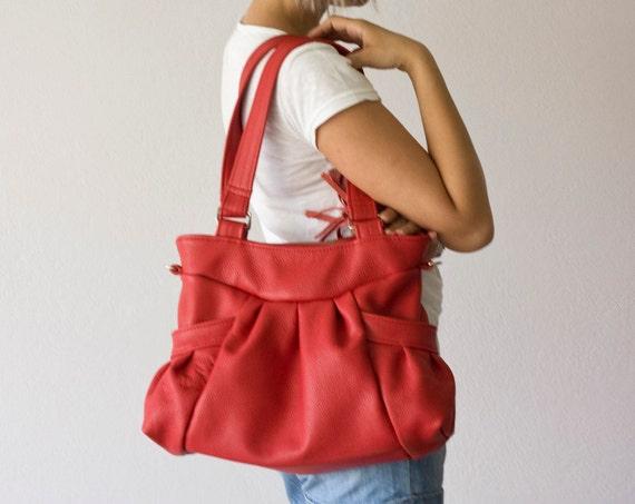 Red Leather shoulder bag , leather messenger bag , leather crossbody bag  - Elessa bag