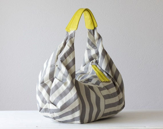 Kallia bag in stripe cotton and yellow leather
