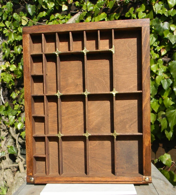 Part printer's wooden type case /tray / drawer - for display, thimbles,etc with brass toppers
