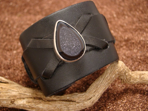 Leather Cuff with Sterling Silver & Druzy