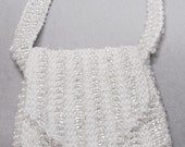 Especially for Audrey -  BJD Lusterous White - Hand Knitted Seed Bead Mini Purse Shoulder Bag