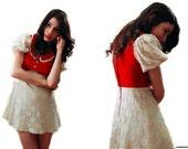 Vintage 1960's xs velvet lace babydoll dress