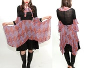 Vintage 1970s gypsy bell sleeved silk boho dress