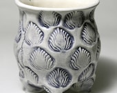 Funky Footed Ceramic Bowl - Purple Flames