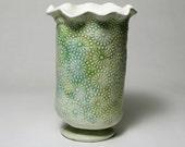 Rustic Cottage Ceramic Vase - Earthy Tones
