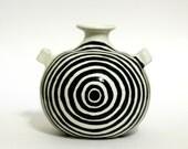 White Vase with Black Rings - Ceramic Pottery