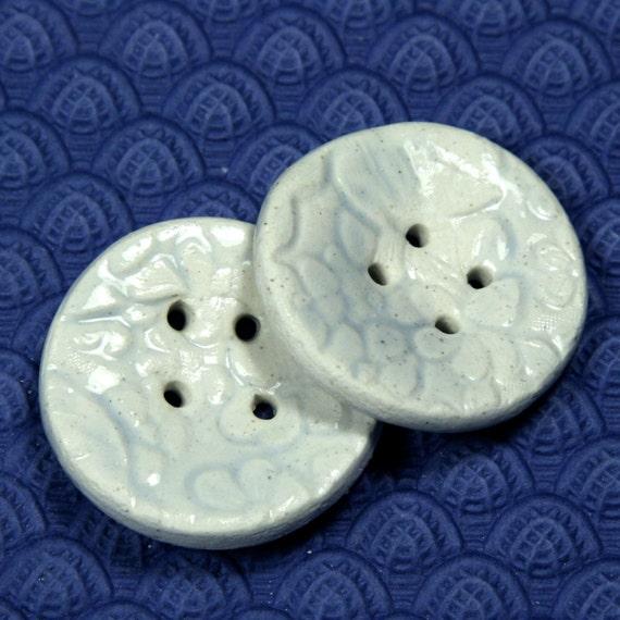 "Embossed Ceramic Buttons - Glossy Skim Milk Glaze 1-1/2"" Extra Large"