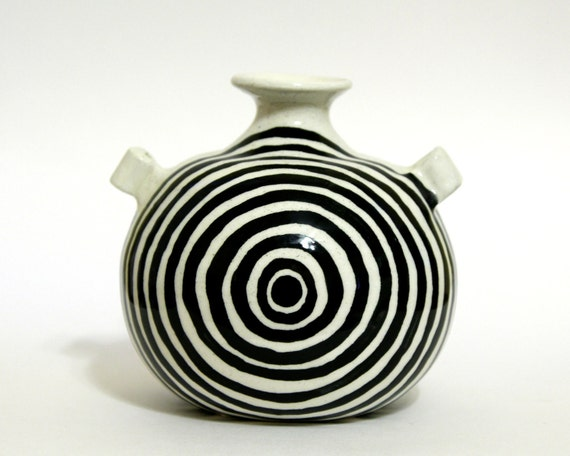 White Vase with Black Rings - Ceramic Pottery