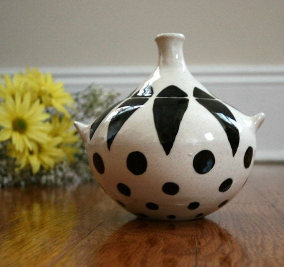 Spotted White Vase - Thown Pottery