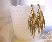Vintage Brass Feather Dangly Earrings -  FREE SHIPPING