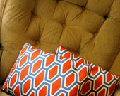 RESERVED FOR ThePaperElement -- Vintage Set of 2 Honeycomb Geometric Patterned Pillows