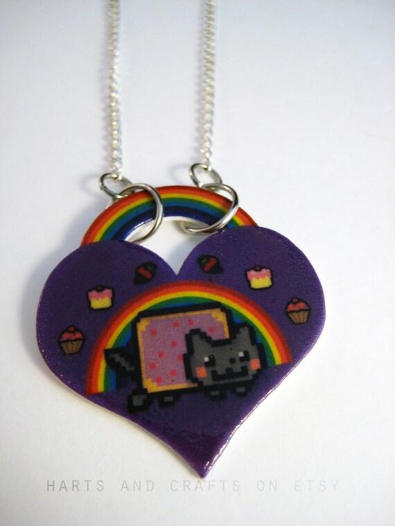 Nyan Cat Purple Rainbow Heart Necklace