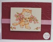 Cat Thank You  Greeting Card With Recycled Vintage Card Image