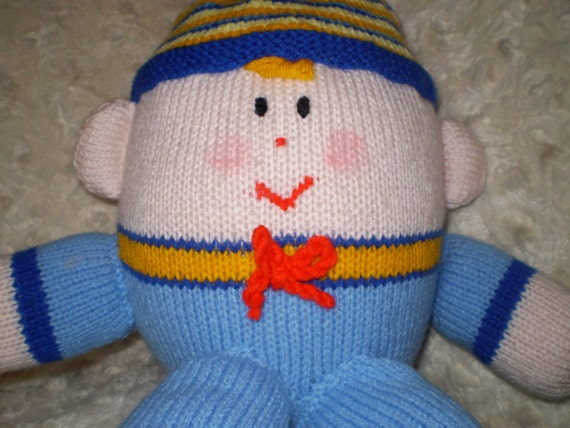 Knitting Pattern For Humpty Dumpty : Items similar to hand knitted humpty dumpty boy doll on Etsy