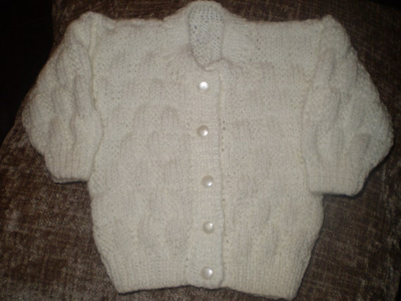 HAND KNITTED baby round neck cardigan