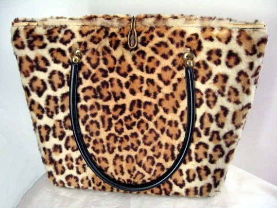 Vintage 50 60s Handbag Leopard Print Real Fur Lg Tote Mad Men Rockabilly