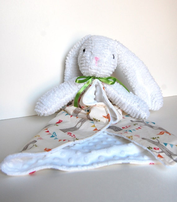 RESERVED Bunny Baby Blanky Lovey Organic Woodland