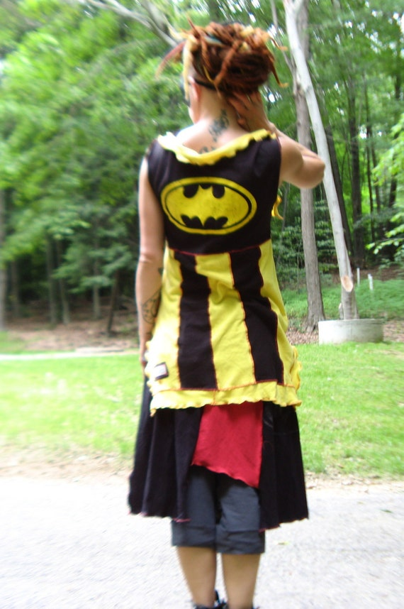 ReSerVed For JENN  SALE SALE was 75 now 50 Batman cape vest tunic shirt black yellow funky upcycled punk rocker couture