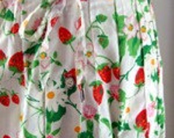 Vintage Strawberry and Flowers Skirt
