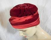 Vintage 50s Burgundy Velvet Satin Beltone Turban
