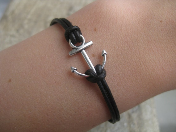 Anchor Bracelet with real leather [LBBR01L]