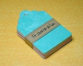 """50 Paper Tags: Assorted Distressed Colored Gift Tags 2.25"""" x 3.5"""""""