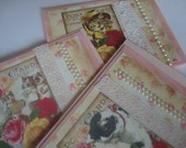note cards with vintage cat  images on pink set of 3 cards
