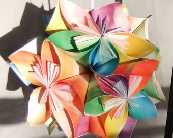 Tie Dye Extra Large Origami Flower Ornament~Flower Ball~Kusudama~Fan Pul~Origami Ball~Room Decor~Pomander~Nursery Decor~Hanging Sculpture