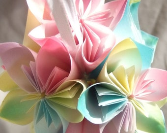 Pastel Ornament~Christmas Tree Ornament~Fan Pull~Origami Ornament~Flower Ball~Wedding Decor~Flower Decor~Paper Flower Ornament~Floral Decor